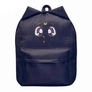 Sailor Moon Cat Backpack Canvas [3 Colors] #JU1836-Luna Black-Juku Store