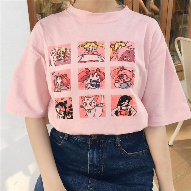 Sailor Moon T-Shirt Harajuku Cartoon Top #JU2399-Pink-XXL-Juku Store