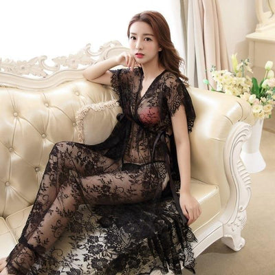 Sexy Floral Nightgown Kawaii See-Through Long Dress #JU3014-Black-M-Juku Store