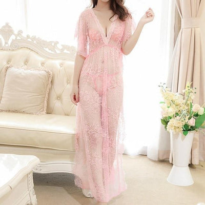Sexy Floral Nightgown Kawaii See-Through Long Dress #JU3014-Pink-M-Juku Store