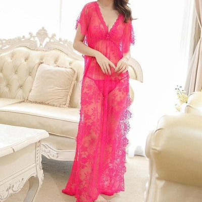Sexy Floral Nightgown Kawaii See-Through Long Dress #JU3014-Rose Red-XL-Juku Store