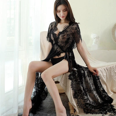Sexy Floral Nightgown Kawaii See-Through Long Dress #JU3014-Juku Store