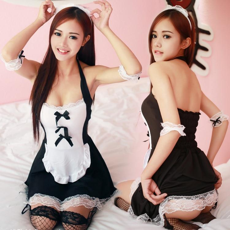 Sexy French Maid Lingerie Cosplay Costume Set [2 Styles] #JU2040-One Size-Juku Store