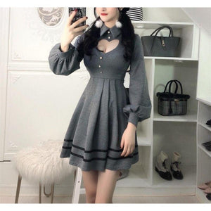 Sexy Heart Dress Open Chest Cutout Long Sleeve with Collar [3 Colors] #JU2154-Juku Store