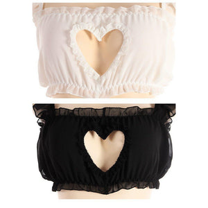 Sexy Hollow Heart Laced Lolita Lingerie [2 Colors] #JU2354-Juku Store
