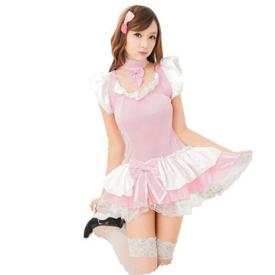 Sexy Pink Maid Lingerie Roleplay Costume #JU2530-Juku Store
