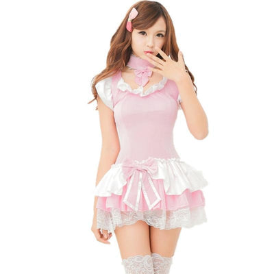 Sexy Pink Maid Lingerie Roleplay Costume #JU2530-Costume Without Stockings-XS-Juku Store