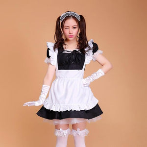 Sexy Ruffled Maid Cosplay Costume [7 Colors] #JU2107-Black-S-Juku Store