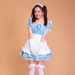 Sexy Ruffled Maid Cosplay Costume [7 Colors] #JU2107-Blue-S-Juku Store
