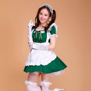 Sexy Ruffled Maid Cosplay Costume [7 Colors] #JU2107-Green-S-Juku Store