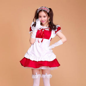 Sexy Ruffled Maid Cosplay Costume [7 Colors] #JU2107-Red-S-Juku Store