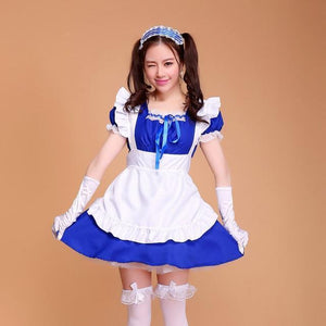 Sexy Ruffled Maid Cosplay Costume [7 Colors] #JU2107-Royal Blue-S-Juku Store