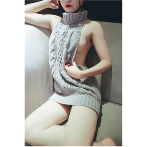 Sexy Virgin Killer Sweater Sleeveless Turtleneck [6 Colors] #JU1818-Juku Store