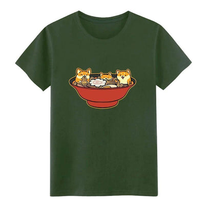 Shiba Inu Ramen T-Shirt Kawaii Casual Top #JU2536-Army Green-XL-Juku Store
