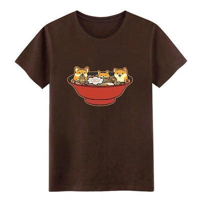 Shiba Inu Ramen T-Shirt Kawaii Casual Top #JU2536-Chocolate-XL-Juku Store