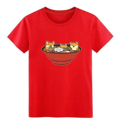 Shiba Inu Ramen T-Shirt Kawaii Casual Top #JU2536-Red-S-Juku Store