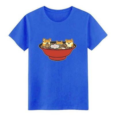 Shiba Inu Ramen T-Shirt Kawaii Casual Top #JU2536-Royal Blue-S-Juku Store