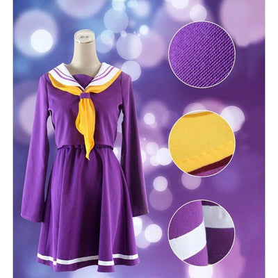 Shiro Cosplay [No Game No Life] Sailor Uniform Schoolgirl Seifuku [2 Colors] #JU2126-Purple-S-Juku Store