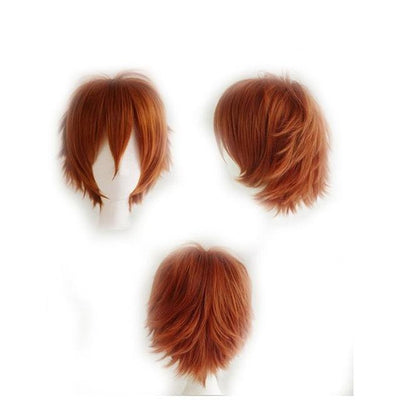 Short Anime Cosplay Wig Heat Resistant [12 Colors] #JU1895-Dark Orange-Juku Store