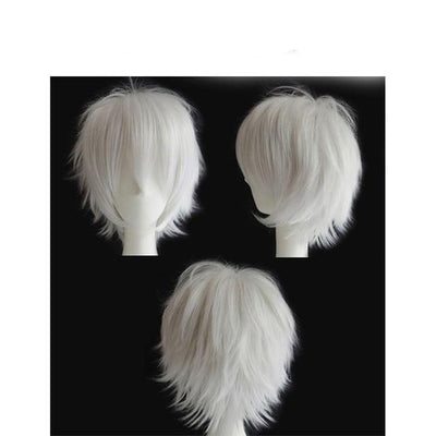 Short Anime Cosplay Wig Heat Resistant [12 Colors] #JU1895-Light Grey-Juku Store