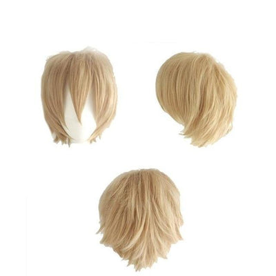 Short Anime Cosplay Wig Heat Resistant [12 Colors] #JU1895-Linen Blonde-Juku Store