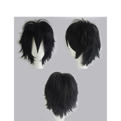 Short Anime Cosplay Wig Heat Resistant [12 Colors] #JU1895-Natural Black-Juku Store