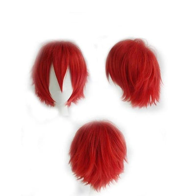 Short Anime Cosplay Wig Heat Resistant [12 Colors] #JU1895-Red-Juku Store