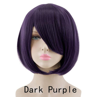 Short Bob Cut Hair Cosplay Wig 35cm [23 Colors] #JU2118-Dark Purple-Juku Store