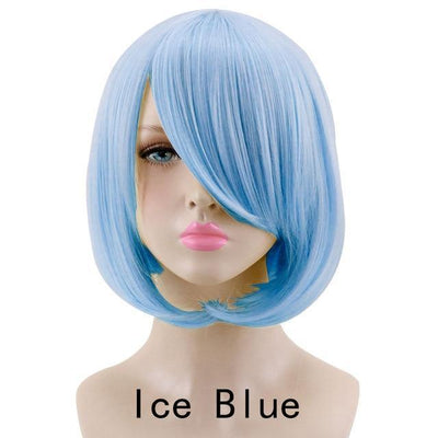 Short Bob Cut Hair Cosplay Wig 35cm [23 Colors] #JU2118-Ice Blue-Juku Store