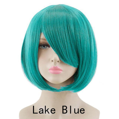 Short Bob Cut Hair Cosplay Wig 35cm [23 Colors] #JU2118-Lake Blue-Juku Store