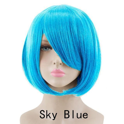 Short Bob Cut Hair Cosplay Wig 35cm [23 Colors] #JU2118-Sky Blue-Juku Store