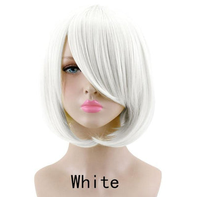 Short Bob Cut Hair Cosplay Wig 35cm [23 Colors] #JU2118-White-Juku Store