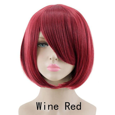 Short Bob Cut Hair Cosplay Wig 35cm [23 Colors] #JU2118-Wine Red-Juku Store