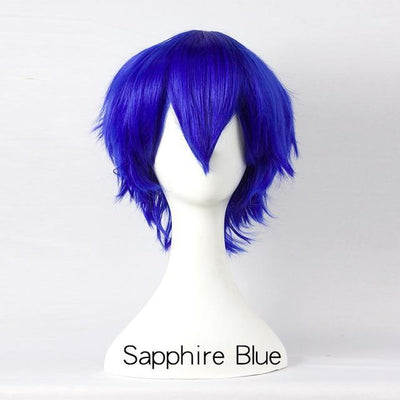 Short Fly Away Hair Wig Cosplay 30cm [17 Colors] #JU2116-Sapphire Blue-Juku Store