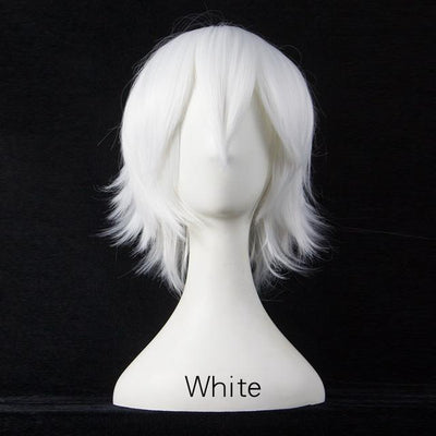 Short Fly Away Hair Wig Cosplay 30cm [17 Colors] #JU2116-White-Juku Store