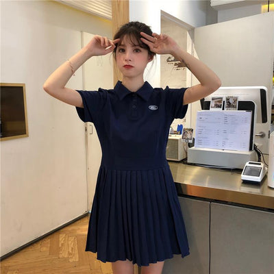 Short Sleeve Pleated Polo Dress [2 Colors] #JU2338-Blue-One Size-Juku Store