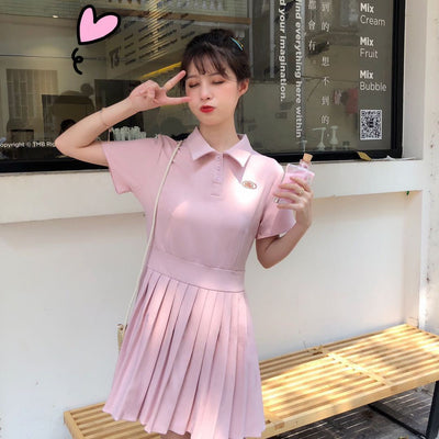 Short Sleeve Pleated Polo Dress [2 Colors] #JU2338-Pink-One Size-Juku Store