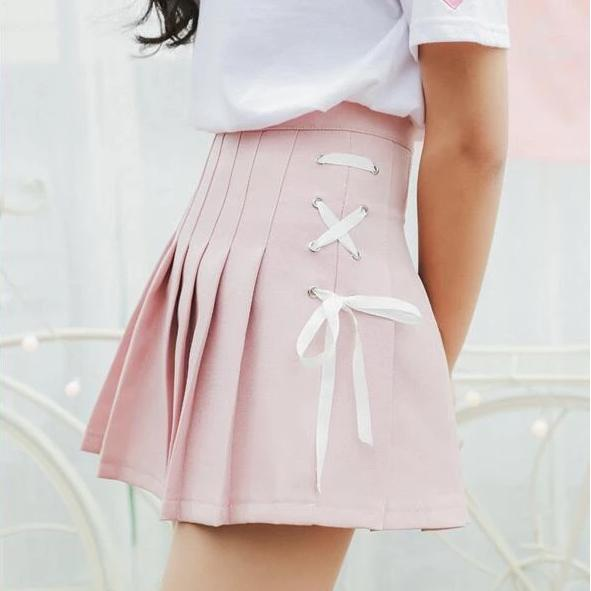 Side Bow Tie Pleated Skirt Harajuku Mini #JU2413-Juku Store