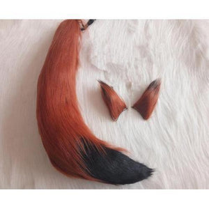 Spice And Wolf Cosplay Clip-On Ears & Fox Tail Accessory [5 Colors] #JU2090-Red Brown-Juku Store