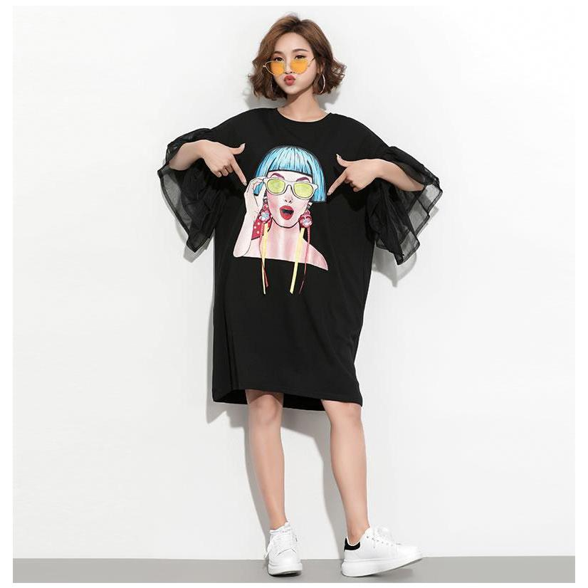 Splice Ribbon Mesh Sleeve Dress Korean Oversized Outfit #JU2782