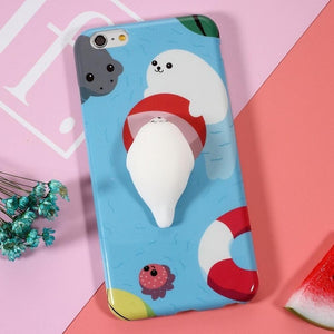 Squishy Soft Silicone Seal iPhone Case [2 Styles] #JU1849-Playful Seal-iPhone 7-Juku Store