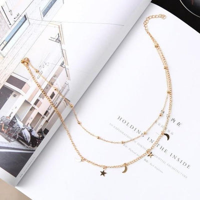 Star and Moon Pendant Layering Chain Choker Necklace [2 Colors] #JU2374-Gold-Juku Store