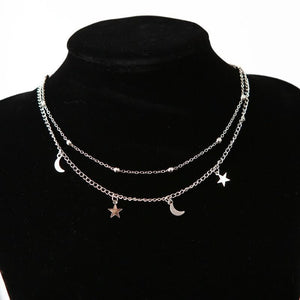 Star and Moon Pendant Layering Chain Choker Necklace [2 Colors] #JU2374-Silver-Juku Store