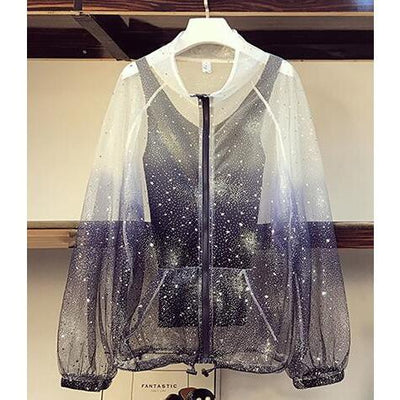 Star Sequins Gradient Mesh Sunscreen Shirt Korean Three Piece Outfit #JU2816-Coat Only-L-Juku Store