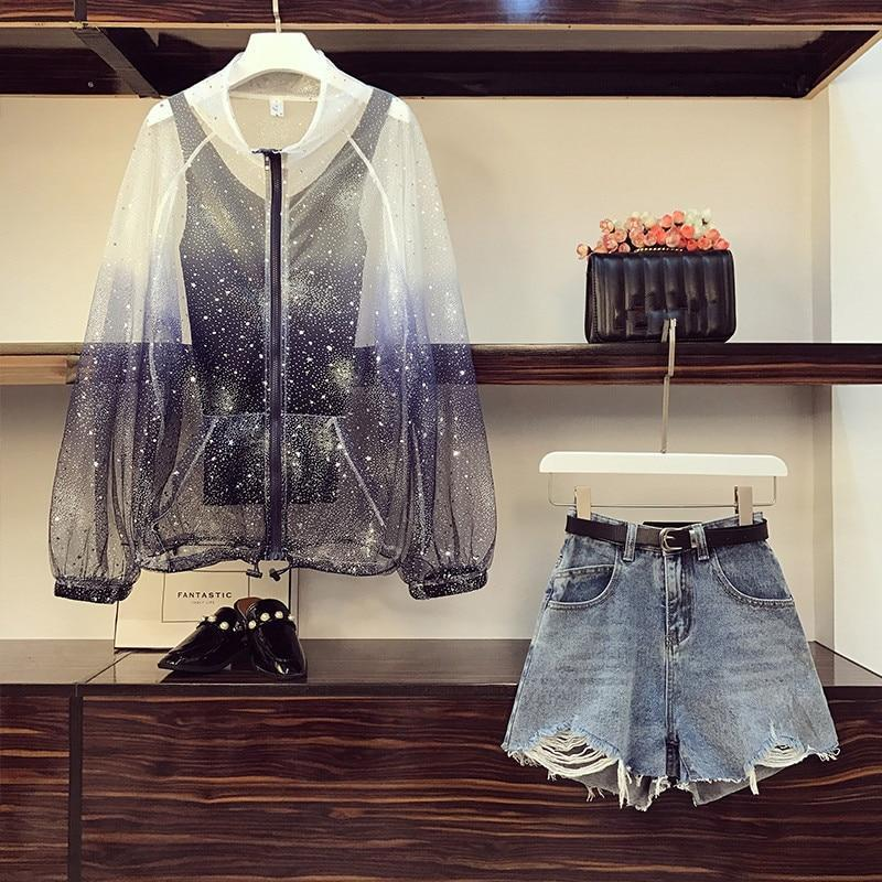 Star Sequins Gradient Mesh Sunscreen Shirt Korean Three Piece Outfit #JU2816-Juku Store