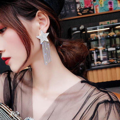 Star-studded Fringed Earrings Korean Fashion Jewelry #JU2809-Juku Store
