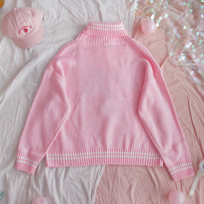 Strawberry Embroidered Loose Sweater Kawaii Pullover #JU2686-Juku Store