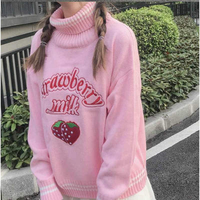 Strawberry Embroidered Loose Sweater Kawaii Pullover #JU2686-Pink-One Size-Juku Store