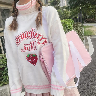 Strawberry Embroidered Loose Sweater Kawaii Pullover #JU2686-White-One Size-Juku Store