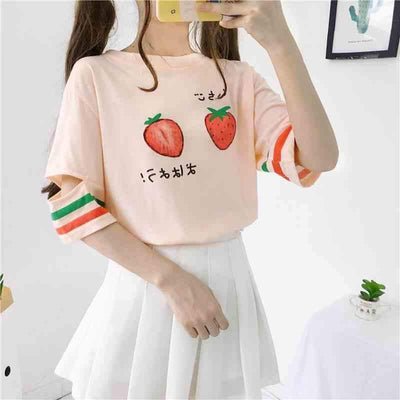 Strawberry Print Stripe Sleeve T-Shirt Kawaii Top #JU2701-Juku Store